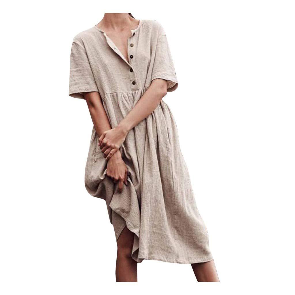 Nmch Women's Plus Size Short Sleeve Buttons Cotton Long Dress Boho Solid Casual Soft Dress Loose Dresses(Khaki,M)