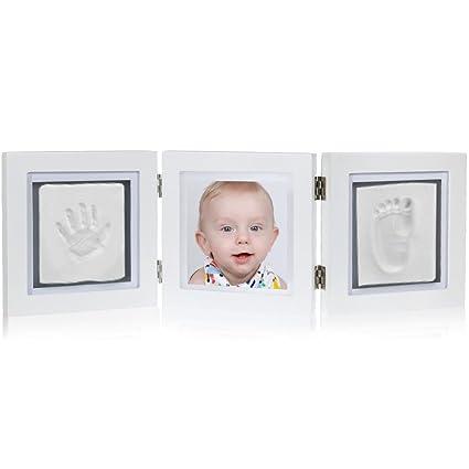 Rovtop 3 Piezas Conjunto Marco de Foto de Huella para Niño y Niña Bebé Handprint Kit Recién Nacidos Regalos Únicos de Baby Shower Establecidos ...