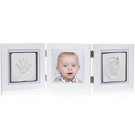 Rovtop 3 Piezas Conjunto Marco de Foto de Huella para Niño y Niña Bebé Handprint Kit