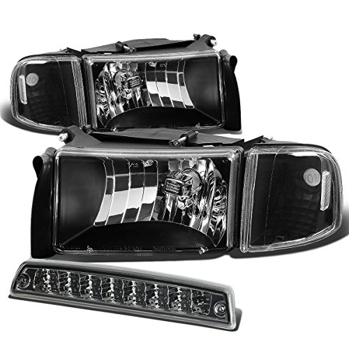 For Dodge Ram BR/BE Pair of Black Housing Clear Corner Headlight+Smoke Lens LED 3rd Brake Light