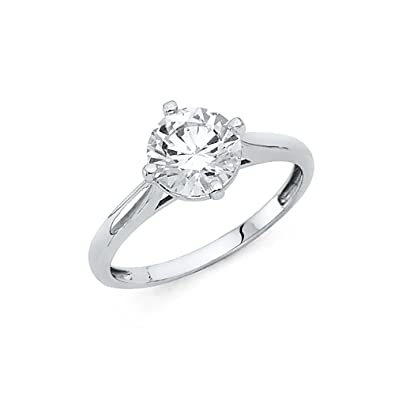 6fef0c21a5eb3 CZ Solitaire Engagement Ring 14k Yellow OR White Gold Anniversary ...