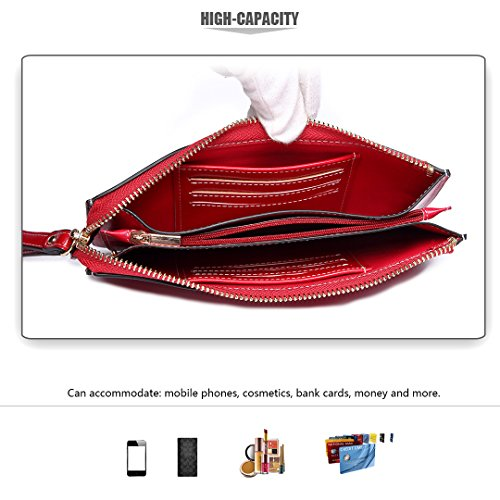 Purse Clutch Pocket Hand Lulu Zipper Women PU Wallets Burgundy Roomy Card Bags Miss Wristlets 5 5 inch Pouch Fashion Smart Holder phone For Leather Bag with z8g1wq