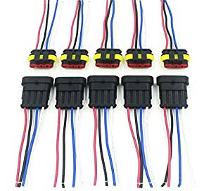 consumer electronics wiring harness connectors subaru wiring harness connectors amazon.com: cnkf 5 sets 4 pin amp superseal car waterproof ...