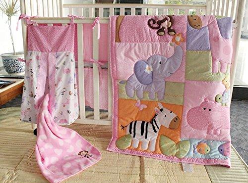 NAUGHTYBOSS Girl Baby Bedding Set Cotton 3D Embroidery Zebra Giraffe Monkey Hippopotamus Quilt Bumper Bedskirt Mattress Cover Diaper Bag Blanket 9 Pieces Set Pink
