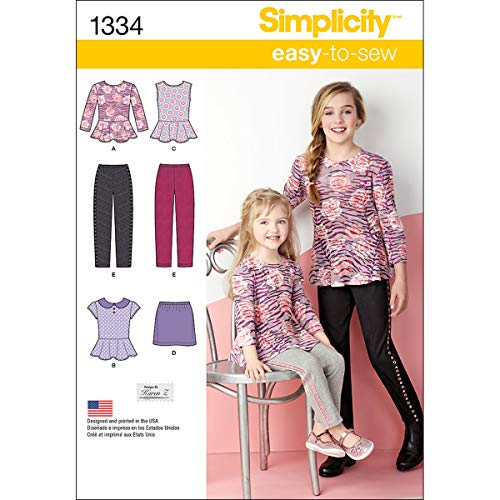 (Simplicity Easy-to-Sew Pattern 1334 Girls Top, Mini Skirt and Slim Pants Sizes 3-4-5-6)