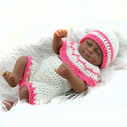 Black Girl Silicone Reborn Baby Dolls Full Body Waterproof Girls Gift Doll 11inch (Baby Doll Mixed)