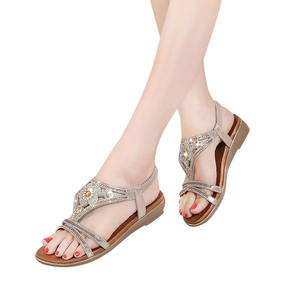 CCOOfhhc Women's Bohemia Sandals Summer Crystal Beach T-Strap Flat Sandals Comfort Walking Shoes Gold by CCOOfhhc (Image #2)
