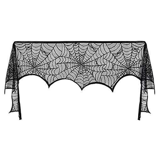 Cheap heytech Marry Acting 18 x 96 inch Cobweb Fireplace Scarf Mysterious Lace Spiderweb Mantle Lace Fireplace Scarf Festive Supplies for Halloween Christmas Party Door Window Decoration Black (18 X 96 in)