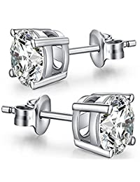Colorstation Women 925 Sterling Silver Sparkling Cubic Zirconia White Stud Earrings