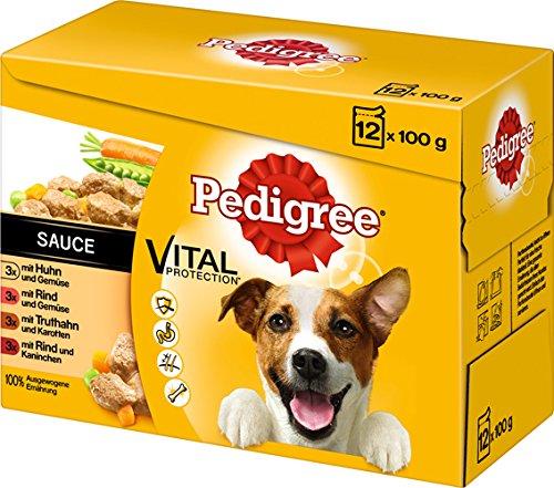 Pedigree Hundefutter in Sauce, 48 Beutel (4 x 12 x 100g)
