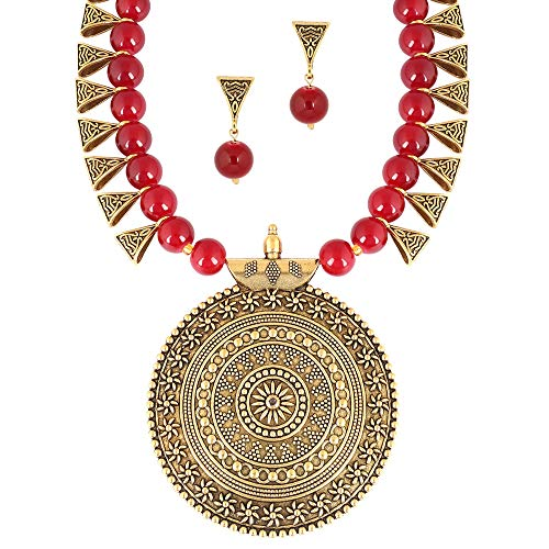 MUCH-MORE Indian Oxidized Colored Pearl Beaded Tribal Disk Necklace Set Traditional Jewelry for Womens (2543Ruby)