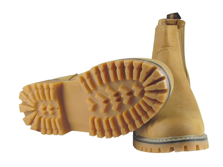 e18c071a6fa438 Winterschuhe - Boots - mit Gummizug - grobes Profil - camel  Amazon.de   Schuhe   Handtaschen