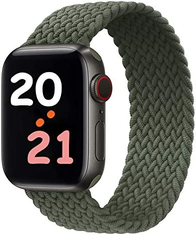 NUKELOLO Braided Solo Loop Strap Compatible with Apple Watch Bands 44mm 42mm 40mm 38mm, Soft Stretchable Sport Replacement Band for iWatch Series 6/SE/5/4/3/2/1