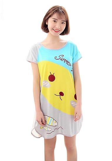 HX fashion Pijamas Mujer Vestidos Verano Manga Corta Cuello Redondo Lindo Dulce Sencillos Diario Estampadas Camison