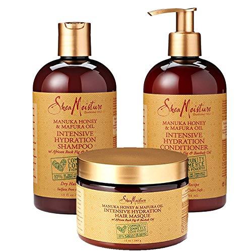 SheaMoisture Manuka Honey & Mafura Oil Intensive Hydration Combination Set - Includes 13 oz. Shampoo, 13 oz. Conditioner & 12 oz. Hair Masque