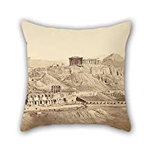 Pillow Shams 18 X 18 Inches / 45 By 45 Cm(twice Sides) Nice Choice For Teens Girls Office Floor Kids Lounge Relatives Oil Painting Dimitrios Constantin (Greek, Active 1858 - 1860s) - The Acropolis