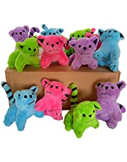 Plush Cats, Super Soft Plush Cats, Assorted Bright Colors (12 Piece Pack)