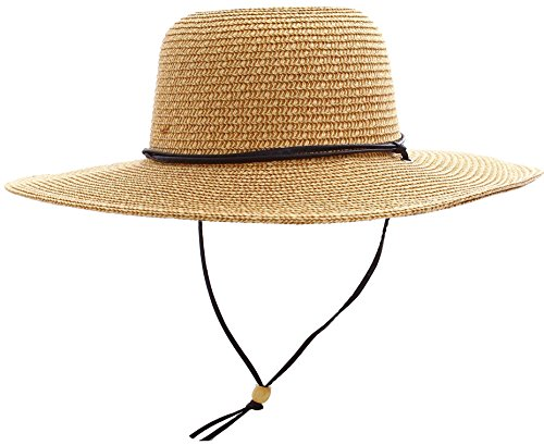 Livingston Straw Hat Womens Wide Brim Sun Protective Straw Sun Hat,Natural/Brown by Livingston