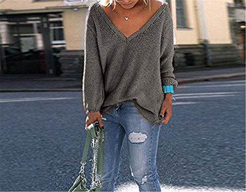 B dressy Fashion Womens Autumn V Neck Loose Knit Sweater Wrap Pullover Dark GreyMedium ()