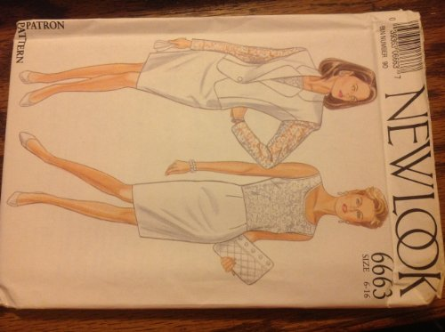 New Look 6663 Sewing Pattern for Misses 6-8-10-12-14-16 Slim Lace Overlay Bodice Sleeveless Back Zip Dress with Semi Fitted Princess Seamed 1-button Shaped Hem Rounded Notch Collar Jacket with Illusion Lace Sleeves Option. ()