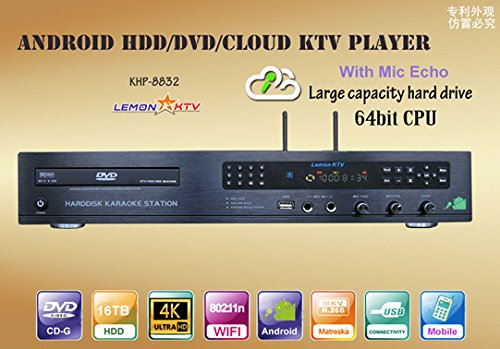 (Android KTV KHP 8832 4K 6TB Hard Drive HDD 57000 Vietnamese and Another Songs Karaoke Machine with DVD Player Plus songsbook and 2 remotes)
