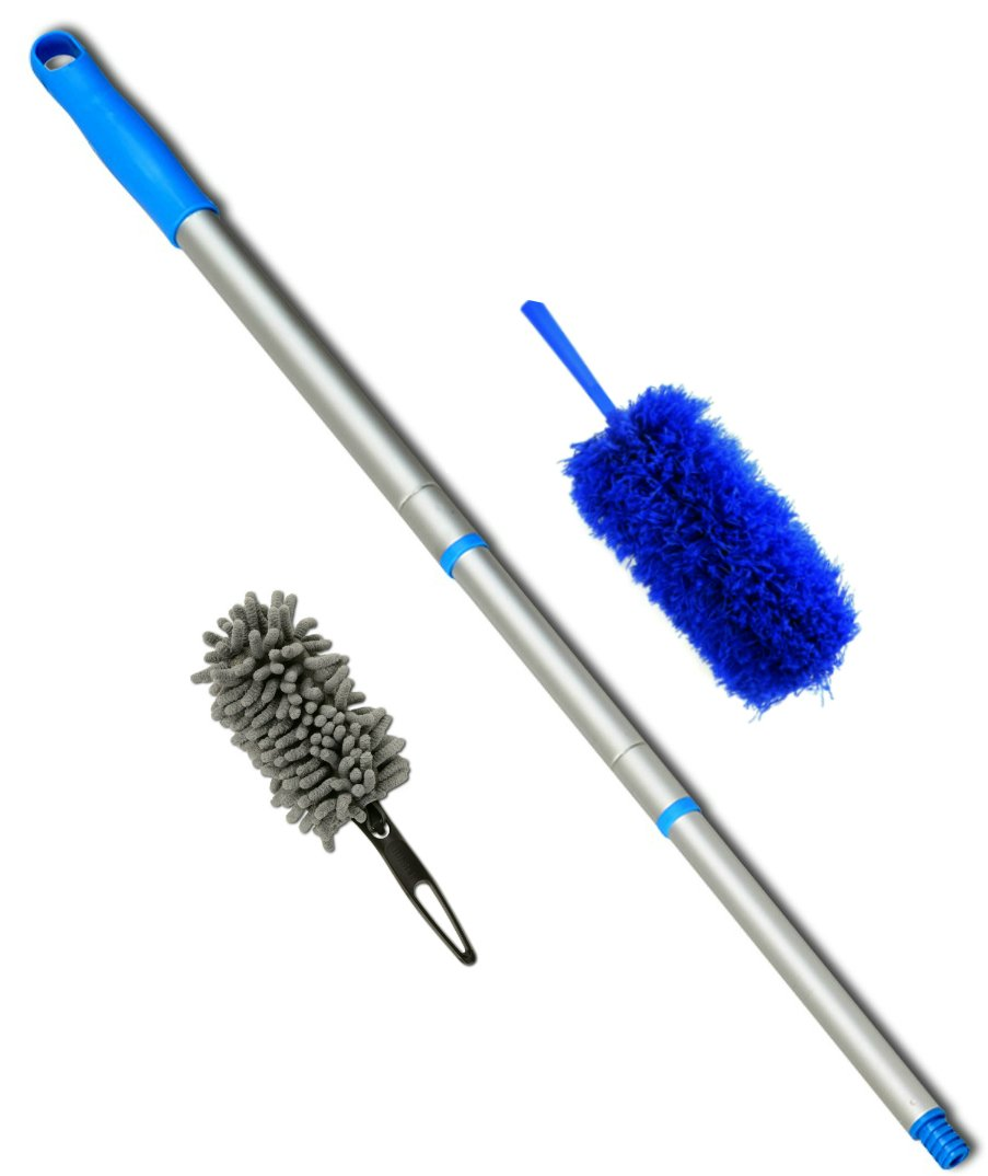 A NEW Dusting Concept - a Fluffy Microfiber Duster for general dusting, a mini Chenille duster for delicate fragile items and a 4 Foot Sturdy, Lightweight Threaded Extension Pole.