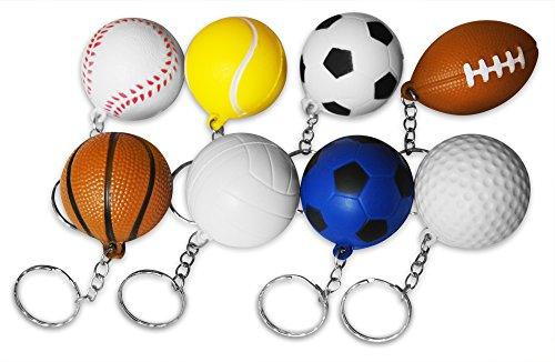 Novel Merk 8-Piece Sports Ball Keychains Pack for Kids Party Favors & School Carnival Prizes Includes 8 Different Designs