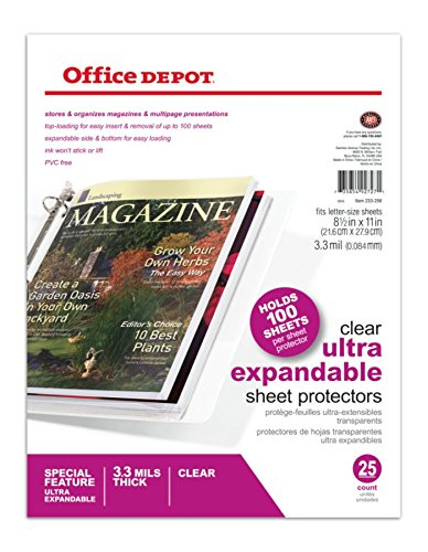 (Office Depot Top-Loading Sheet Protectors, Heavyweight, Clear, Expandable, Box of 25, 105007RMDUP)