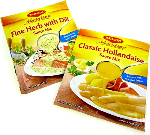 Maggi Meisterklasse Sauce Mixes 2-Flavor Variety: One 1.06 oz Packet of Classic Hollandaise Sauce Mix and One 1.16 oz Packet of Fine Herb with Dill Sauce Mix in a Gift Box