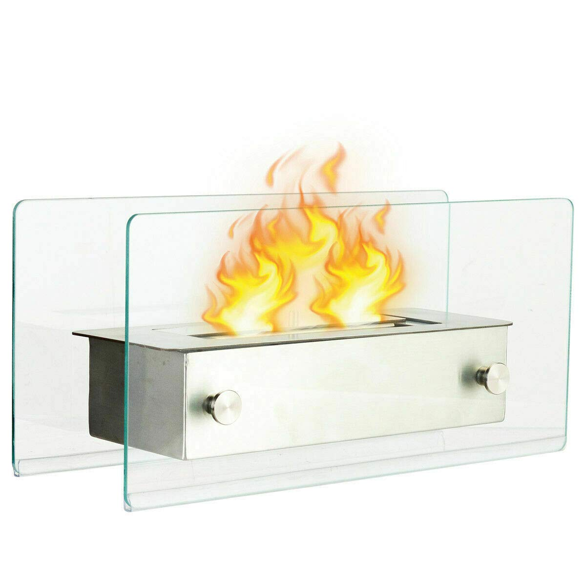 NanaPluz Portable Stainless Steel Ventless Bio Ethanol Tabletop Fireplace Indoor Outdoor Decor Tempered Glass with Ebook by NanaPluz