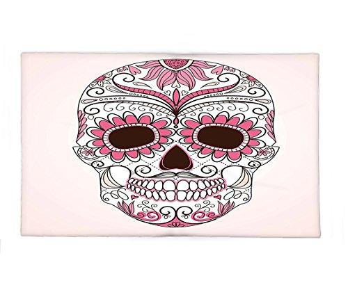 [Interestlee Fleece Throw Blanket Sugar Skull Decor Mexican Ornaments Calavera Catrina Inspired Folk Art Macabre Pink Light Pink White] (Catrina Costume For Sale)