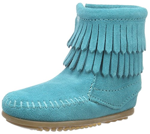 Minnetonka Girls Double Fringe Side Zip Boot,Turquoise Suede,US 12 M