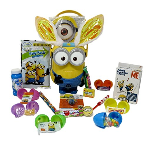 Premade Minions Easter Basket for Kids 19 Pieces With Re-usable Figural Bucket (Minions Movie: Minion Kevin Adult Costume)