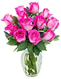 Bouquet of 12 Fresh Cut Pink Roses (Farm-Fresh, Long-Stem) with Free Vase Included