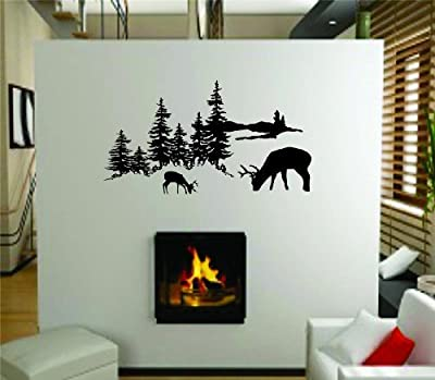 Outdoor Tree Scene Picture Art With Deer Buck Graphic Designs - Living Room - Peel & Stick Sticker - Vinyl Wall Decal - Size : 8 Inches X 16 Inches - 22 Colors Available
