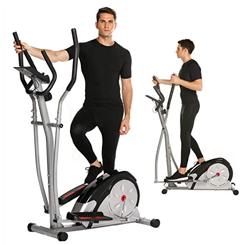 ncient Elliptical Machine Eliptical Trainer Exercise Machine for Home Use Magnetic Smooth Quiet Driven with LCD Monitor and Pulse Rate Grips (Elliptical-Gray)