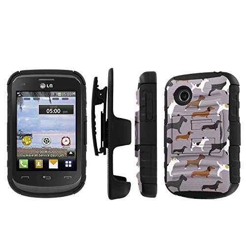 Click to buy NakedShield LG 306G 305C (Dogs Pattern) Combat Tough Holster KickStand Armor Phone Case - From only $15.95