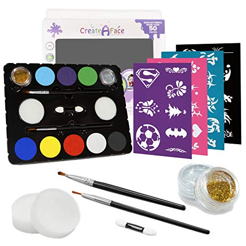 Face Painting Kit + 32 Stencils (Paints 50-80 Faces) Body Makeup, Non-Toxic Paint - Vibrant Colors, Done-For-You Stencils, Shimmering Glitter Gels, Versatile Brushes, Sponges, Applicators]()