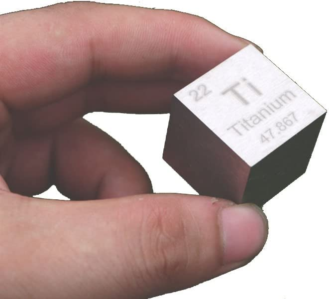 Small Geek Decorative Ti Titanium Metal Cubic Block