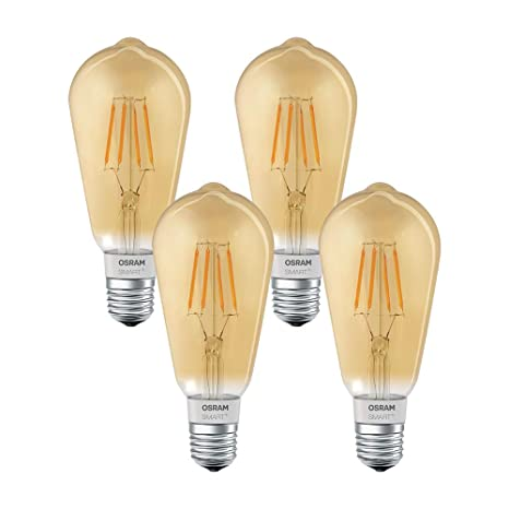 Osram Smart + LED filamento Edison Oro | Apple homekit Bombilla con casquillo E27, intensidad