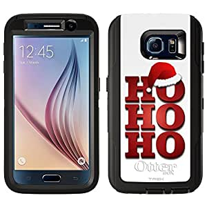 Skin Decal for Otterbox Defender Samsung Galaxy S6 Case - Ho Ho Ho Red with Santa Hat on White