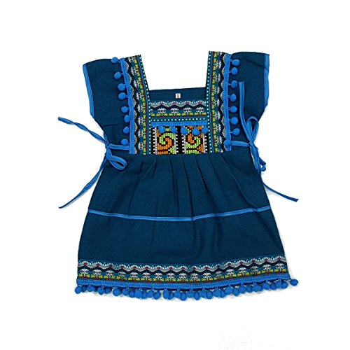 Unique Woven Cotton Ethnic Thai Girl Dress Hand Made Embroidered Costume Traditional Pompoms 2 to 3-Year-Old ()