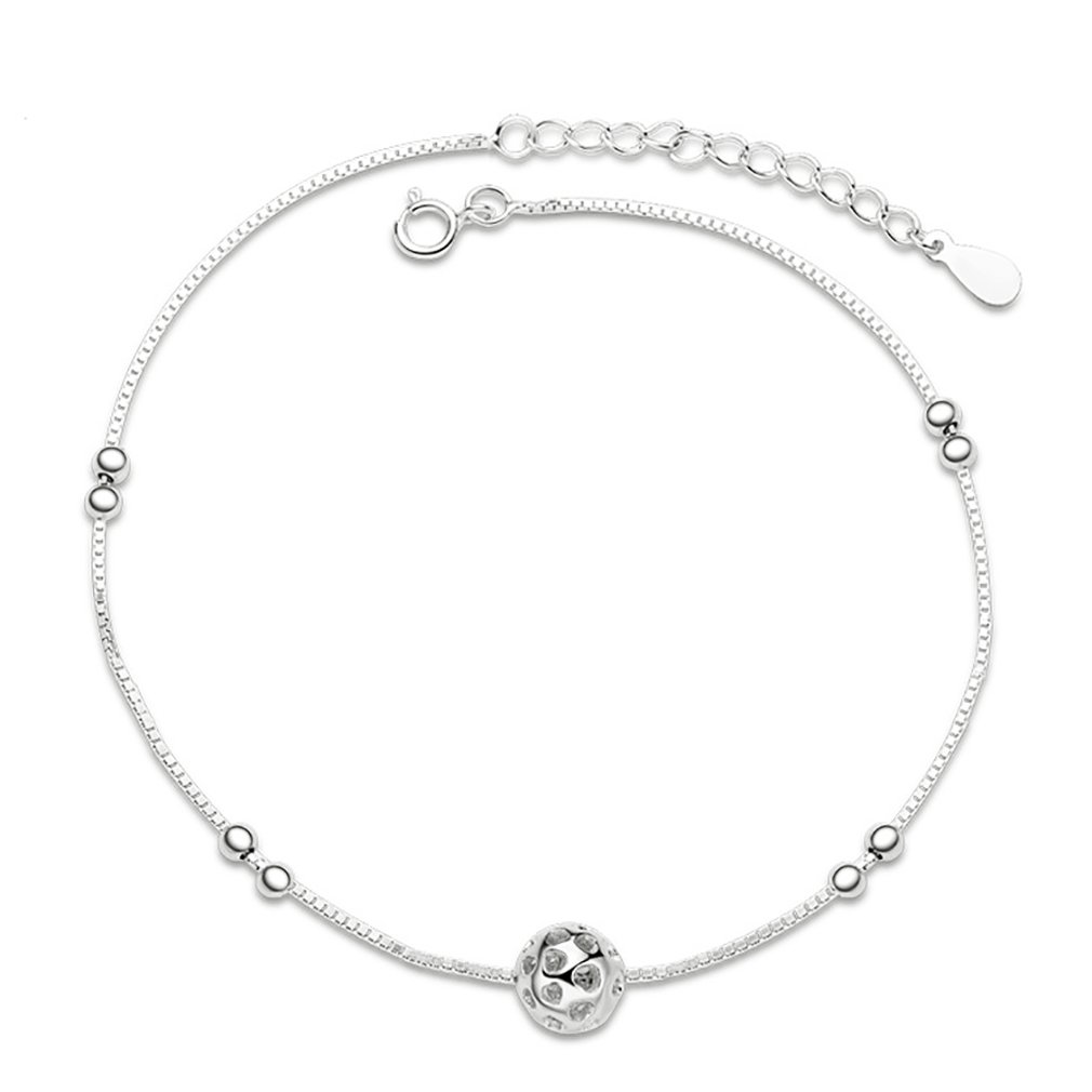 SELOVO 925 Sterling Silver Girls Ankle Chain Adjustable Bracelet Bead Ball Charm 8-9 Hong Yi Co. Ltd. SS-AN002