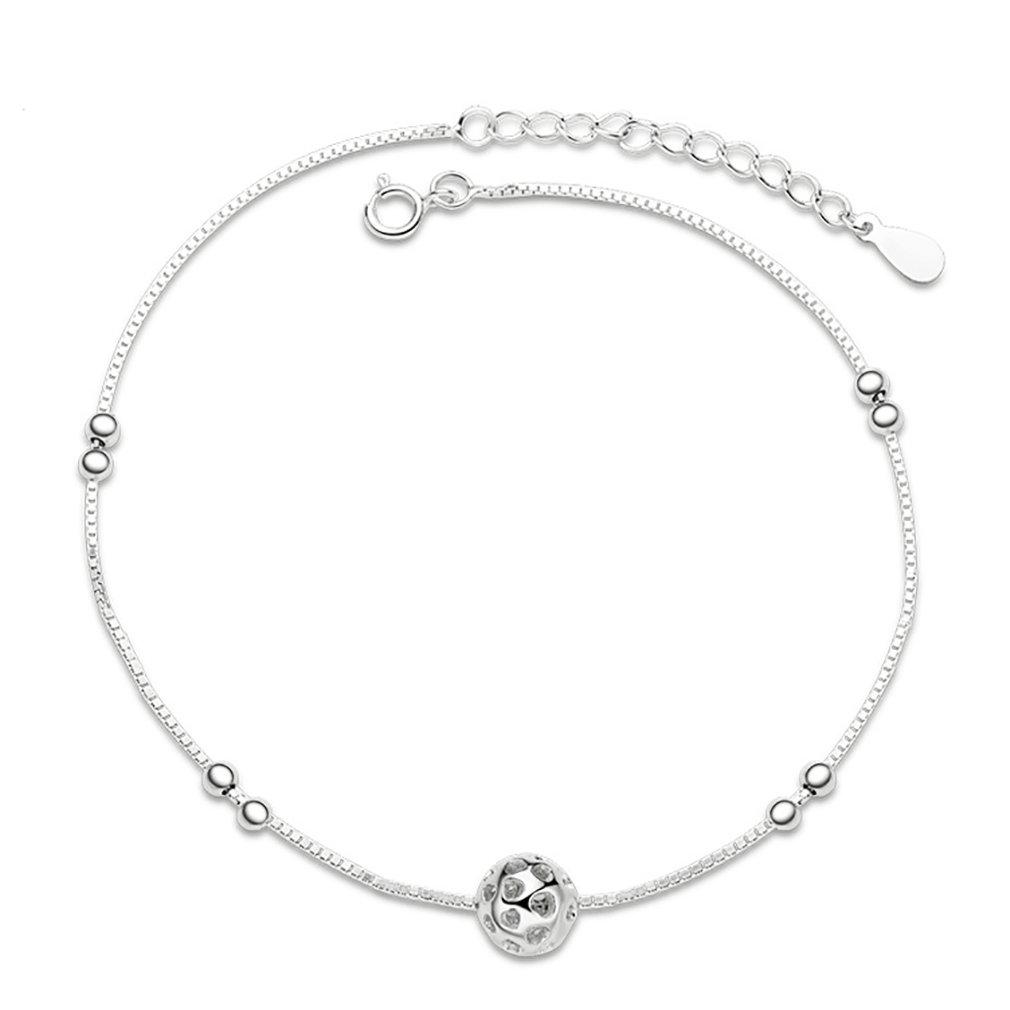 Selovo Chaîne bracelet de cheville réglable en argent sterling 925pour filles avec perle boule breloque 20, 3- 22, 9cm Hong Yi Co. Ltd. SS-AN002