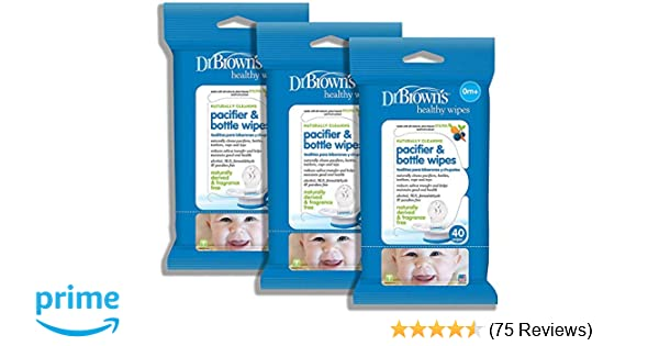 Dr. Browns Pacifier and Bottle Wipes, 40 Count, Pack of 3, Limited Edition