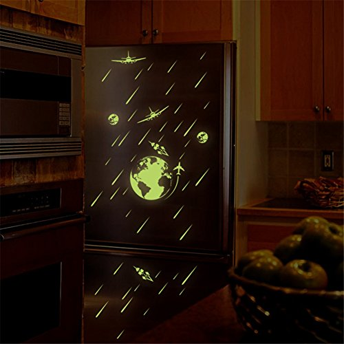 bibitime-glow-in-dark-wall-decals-2-planes-flying-around-the-earth-moon-meteor-shower-luminous-wall-