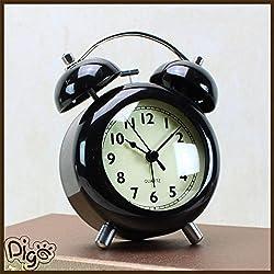 Silent Alarm Clock - Bedroom Alarm Clock - 4 Inch Ultra Silent Alarm Clock Simple Style Alarm Clock Children Bedroom Clock - Black ( Children Alarm Clock )