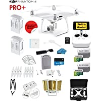 DJI Phantom 4 PRO Plus (Pro+)Quadcopter Drone with 1-inch 20MP 4K Camera KIT with Built in Monitor + 2 DJI Batteries + 2 64GB Micro SD Cards + Reader + Guards + Range Extender+ Charging Hub + HardCase