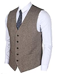 Ruth&Boaz 2Pockets 5Buttons Wool Tweed Business Suit Vest