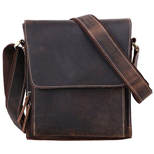 Leathario Shoulder Bag Men's Retro Leather Messenger Bag Crossbody Bag Satchel Bag Ipad Bag 11 inch Brown